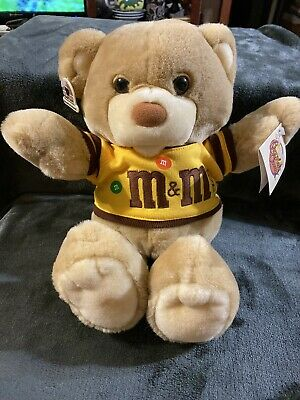 "Vintage 16"" Heartline Peanut M&Ms Teddy Bear Plush Chocolate Chums Candy 1987"