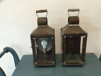 Pair of vintage outdoor copper wall sconces lights fixtures