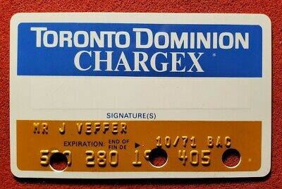 Toronto Dominion Chargex exp 1971♡Free Shipping♡cc1439♡ canceled