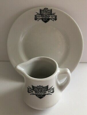 Vintage White Castle Restaurant Ware Creamer & Plate Mayer China