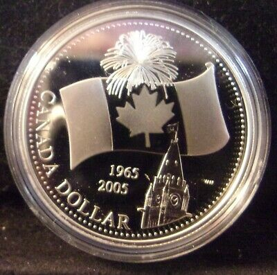 2005 Canada Proof Silver Dollar 40th Anniversary of Canada's National FLAG ¤DN¤