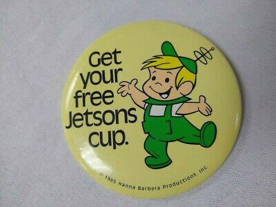 1985 Orange Julius Elroy Jetson plastic cup promotion pinback button Hanna Barbe