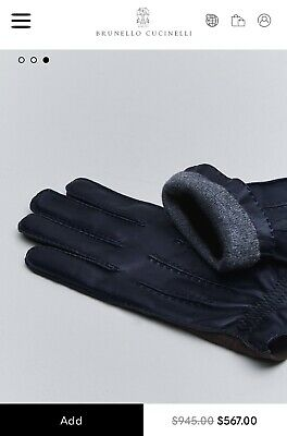 NWT BRUNELLO CUCINELLI Blue Leather/Brown Suede Gloves, Size L, MSRP $945.00.