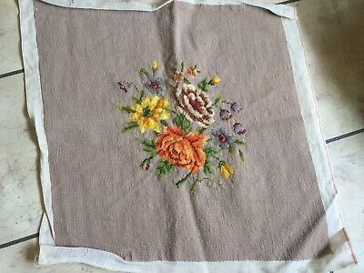 Antique vintage wool needlepoint seat/chair/pillow cover buff~nude floral garden