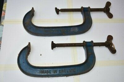 Pair Record G Clamps, No.8, 8 inch opening.