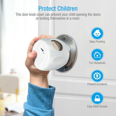 4xChildren Baby Safety Lock Door Knob Cover Child Proof Toddler Guard