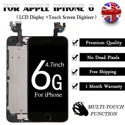 For iPhone 6 Screen Replacement Retina LCD Touch Digitizer Camera Button Black