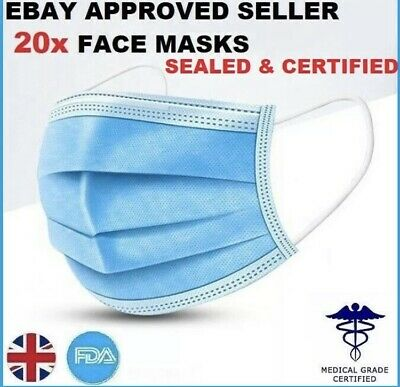 Face, PPE, Pack of 20,UK stock, protection mask, New-fast Delivery