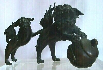 Rare Chinese Bronze Foo Dogs Fu Lion Bell