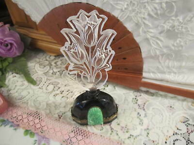CZECH ART DECO PERFUME BOTTLE Black w/brass trim  MALACHIT