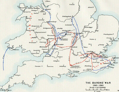 Antique Map Of England The Barons War  1903