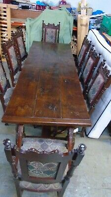 L@@k Impressive Character Antique Oak Banquet Table, 6 Chairs with 2 Carvers