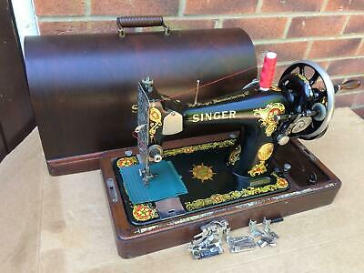 "Beautiful 1931 Singer 128K With ""La Vencedora Indian Star"" Sewing Machine"