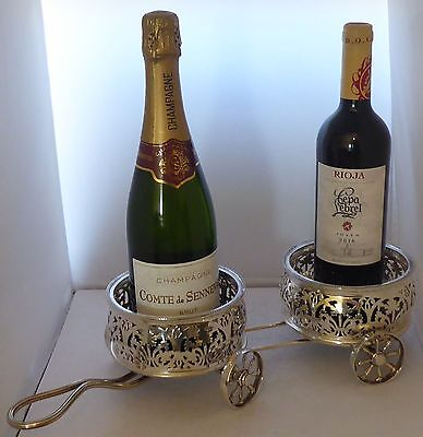 1950's Silver Plate Plated Wine Coaster Carriage Pair Coasters  Table Centre