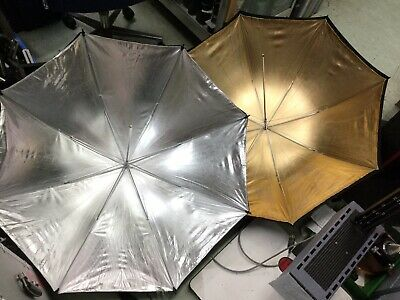 """Pair of NEW KOOD 43"""" inch Soft Silver/Soft Gold Photography Umbrellas BRAND NEW"""