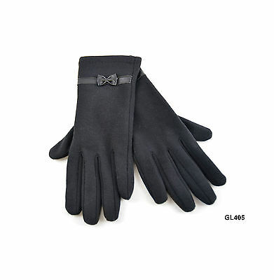 Adults Ladies Plain Black Dress Gloves with Bow - One Size