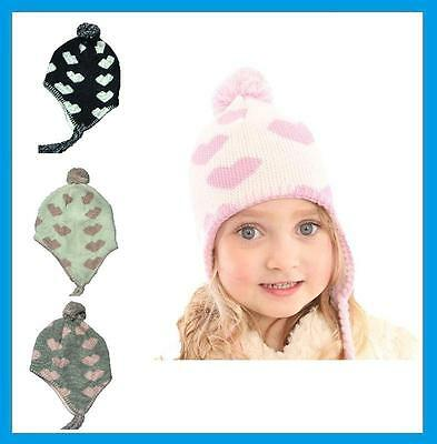 Girls Fleece Lined Heart Design Peru Hat - Warm Winter Peruvian Sherpa