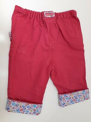lovely jojo maman bebe cropped pink floral capri summer trousers age 3-4 years