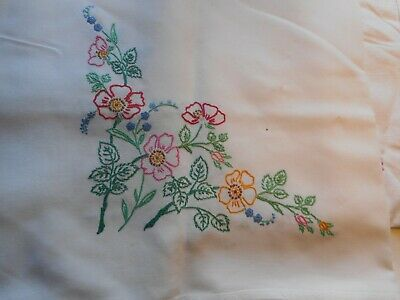 Two Vintage Embroidered Tablecloths