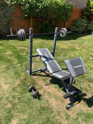 Maximuscle Gym Bench with Arm Curl Pad + 40 kg Weights, 1 barbell, 2 dumbells