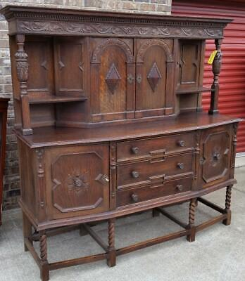 ANTIQUE SERVER OAK CABINET BUFFET Two Piece ENGLAND Lovely Carvings and Patina