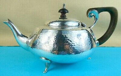 Edwardian Arts & Crafts Sterling Silver Teapot Hammered Finish Chester 1909