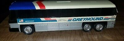 Vintage Greyhound bus Of America Plastic Piggy Bank collectible red white blue