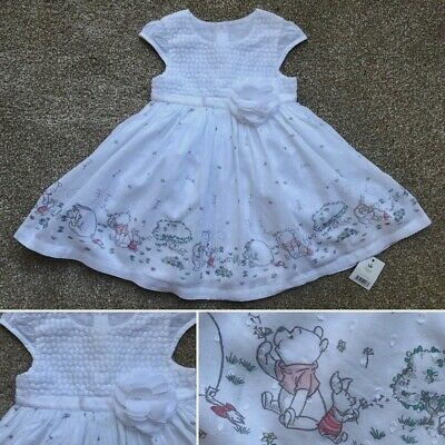 George Disney WINNIE THE POOH Cotton Baby Girls Dress with Bow - 9-12 Months New