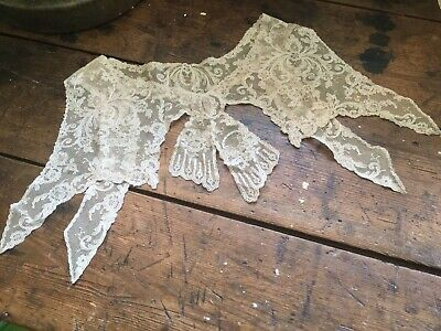 Antique Vintage Edwardian French Tambour Lace Collar Ecru In Color