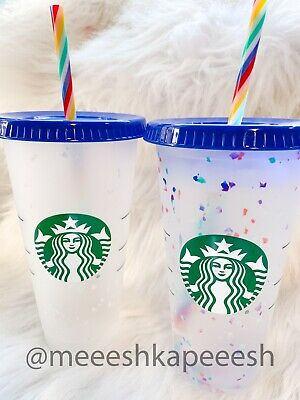 🌈 Confetti Color Changing Cup Rainbow Straw Pride Summer 2020 Starbucks Venti🌈