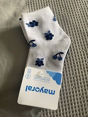 Girls Mayoral Socks Navy And White Age 2 Years BNWT