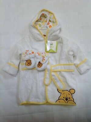 New babies terrycloth winnie the pooh hooded bath robe and booties, 0-9 months
