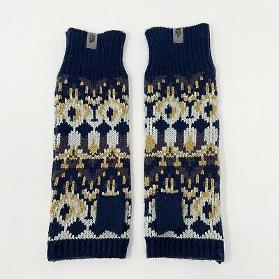 The North Face Womens Knit Fingerless Mittens Gloves Navy Blue Tan Gray Sz S/M