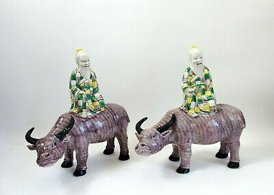 Fine pair of antique Chinese 18th century biscuit porcelain buffaloes