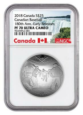 2018 Canada $25 Convex Baseball NGC PF70UC Early Releases