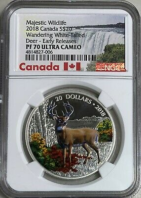 2018 Canada Wandering White-Tailed Deer $20 Silver NGC PF70UC ER