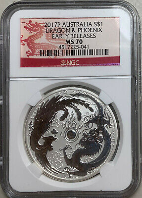 2017 Australia $1 1oz  Dragon & Phoenix NGC MS70 Early Releases