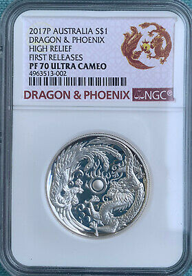 2017P Australia - Dragon & Phoenix 1 oz Silver NGC PF70 FR High Relief