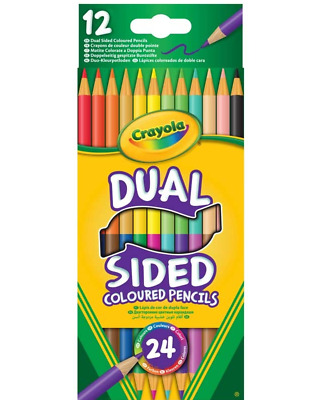 CRAYOLA 12 Double Sided Coloured Pencils Kids Painting Colouring Drawing