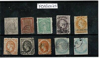 V121 British CW Islands QV FORGERIES on card (10)
