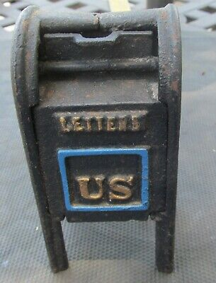 Vintage Cast Iron US Airmail Post Office Letter Box Piggy Bank - AS IS