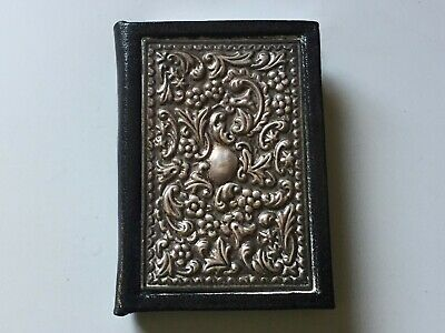 Small Vintage Sterling Silver Leather Birthday Book - English Sterling Marks