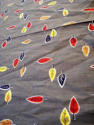 Vtg 30's 40's Autumn leaves printed gray Fabric