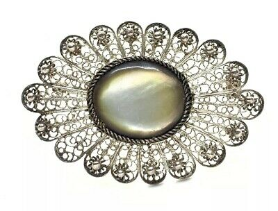 "Beautiful 800 Silver Antique Filigree Mother Of Pearl 2"" Brooch Pin"