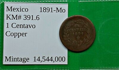 World Foreign Old Mexico 1891-Mo Coin 1 Centavo KM# 391.6 !!