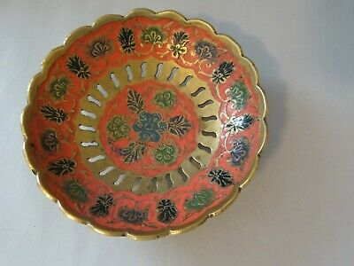 Oh So Very Pretty!!!  Solid Brass With Pink Enameling Small Trinket Bowl / Dish