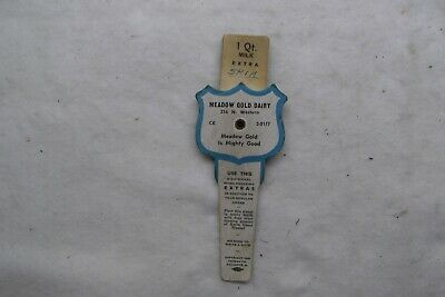 Vntg 1949 Meadow Gold Dairy E-Z-C Signal Milk Bottle Insert To Reorder Products