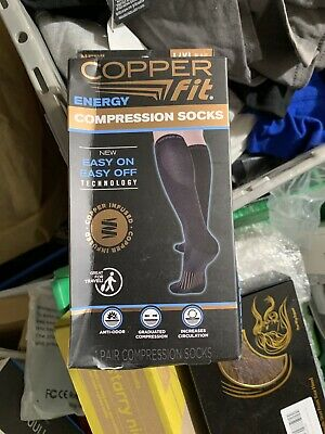 New! 1 Pair Copper Fit Energy Knee High Compression Sock,  L/XL