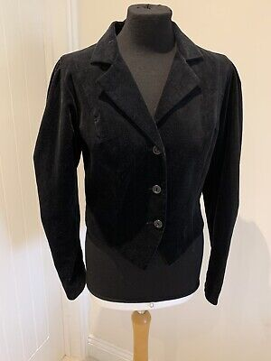 Vintage 80s LAURA ASHLEY Black Velvet Bolero Made In Dublin Ireland UK 10 Party