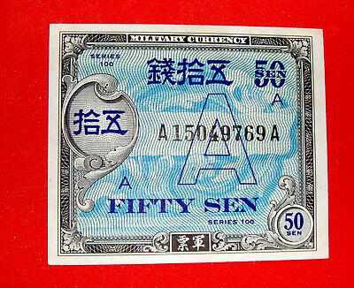 """WW2 US Military Currency for Occupied Japan - Rare """"A"""" Underprint 50 Sen - UNC"""